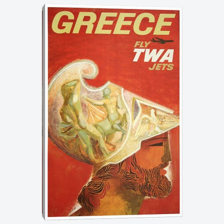 Greece - Fly TWA II Canvas Print #LIV116} by Unknown Artist Canvas Art Print