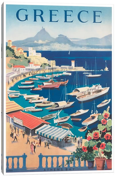 Greece: Athens Bay Canvas Art Print
