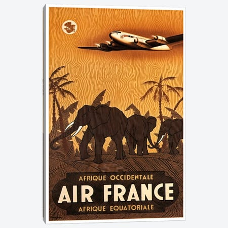 Air France Afrique Occidentale Canvas Print #LIV11} by Unknown Artist Art Print