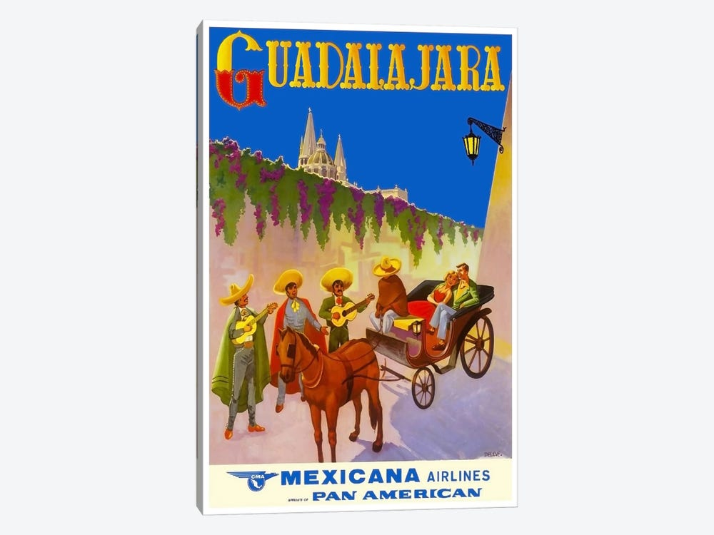 Guadalajara - Mexicana Airlines by Unknown Artist 1-piece Canvas Wall Art