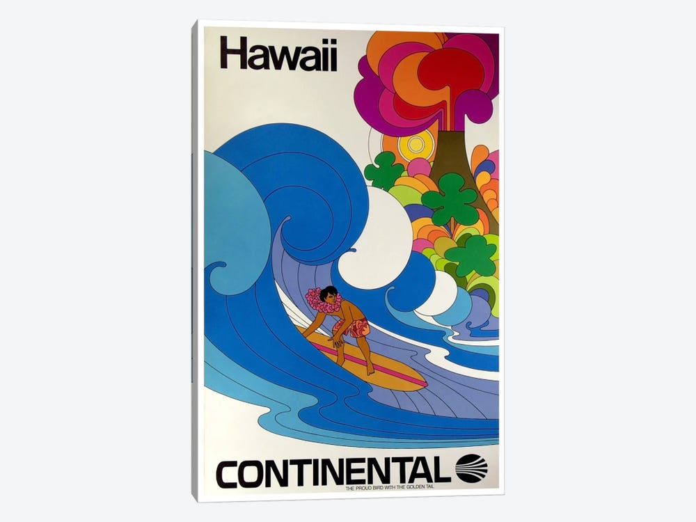 Hawaii - Continental Airlines II by Unknown Artist 1-piece Canvas Art