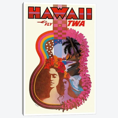 Hawaii - Fly TWA Canvas Print #LIV125} by Unknown Artist Canvas Wall Art