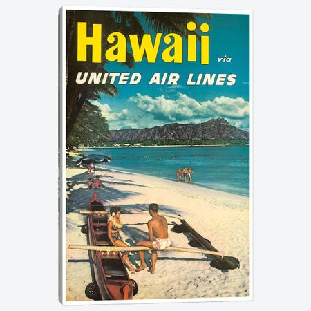 Hawaii - United Airlines Canvas Print #LIV127} by Unknown Artist Canvas Wall Art