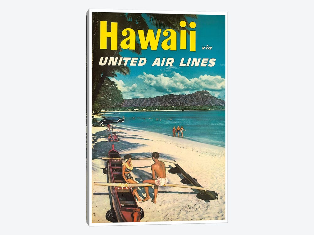 Hawaii - United Airlines by Unknown Artist 1-piece Canvas Print