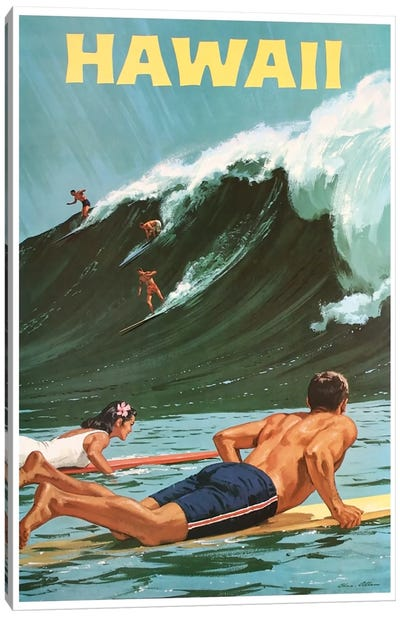 Hawaii: Surfing Canvas Art Print
