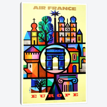 Air France Europe Canvas Print #LIV12} by Unknown Artist Canvas Art Print