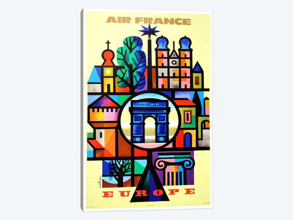 Air France Europe by Unknown Artist 1-piece Canvas Art Print