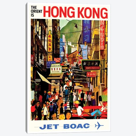 Hong Kong - Jet BOAC Canvas Print #LIV135} Canvas Print