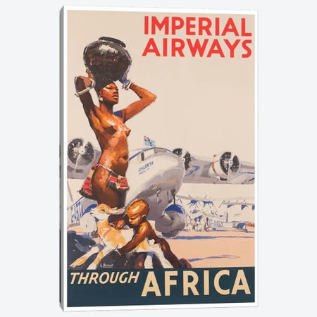 Imperial Airways Through Africa 3-Piece Canvas #LIV138} by Unknown Artist Canvas Artwork