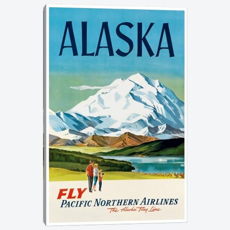 Alaska - Fly Pacific Northern Airlines, The Alaska Flag Line Canvas Print #LIV14} Canvas Artwork