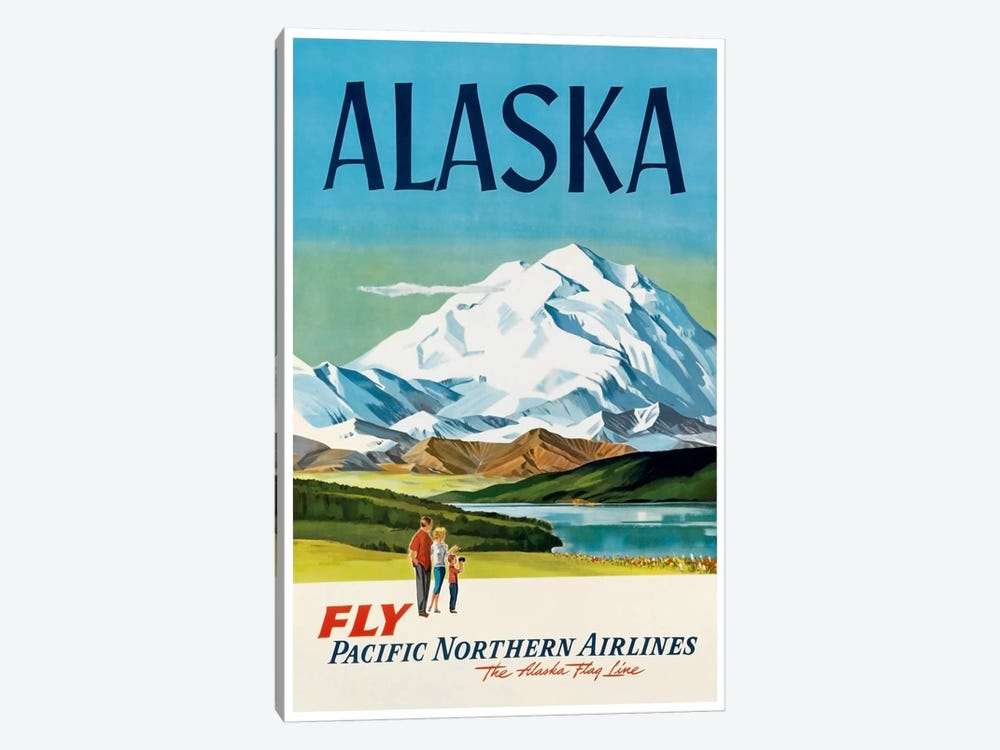 Alaska - Fly Pacific Northern Airlines, The Alaska Flag Line by Unknown Artist 1-piece Canvas Print