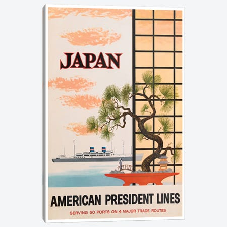 Japan - American President Lines Canvas Print #LIV158} Canvas Artwork