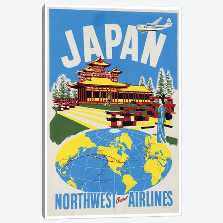 Japan - Northwest Orient Airlines Canvas Print #LIV160} Canvas Print