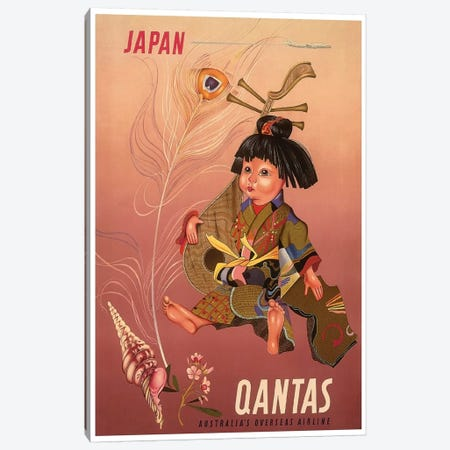 Japan - Qantas, Australia's Overseas Airline Canvas Print #LIV162} Art Print
