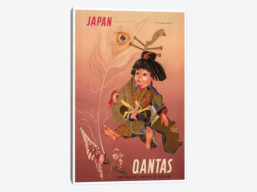 Japan - Qantas, Australia's Overseas Airline 1-piece Canvas Artwork