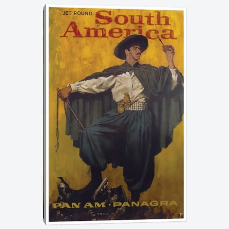Jet 'Round South America - Pan Am Canvas Print #LIV167} by Unknown Artist Canvas Art