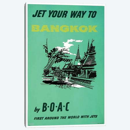 Jet Your Way To Bangkok By BOAC Canvas Print #LIV168} by Unknown Artist Art Print