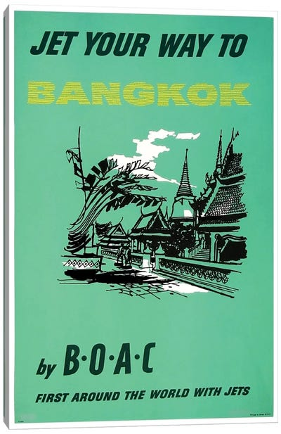 Jet Your Way To Bangkok By BOAC Canvas Art Print