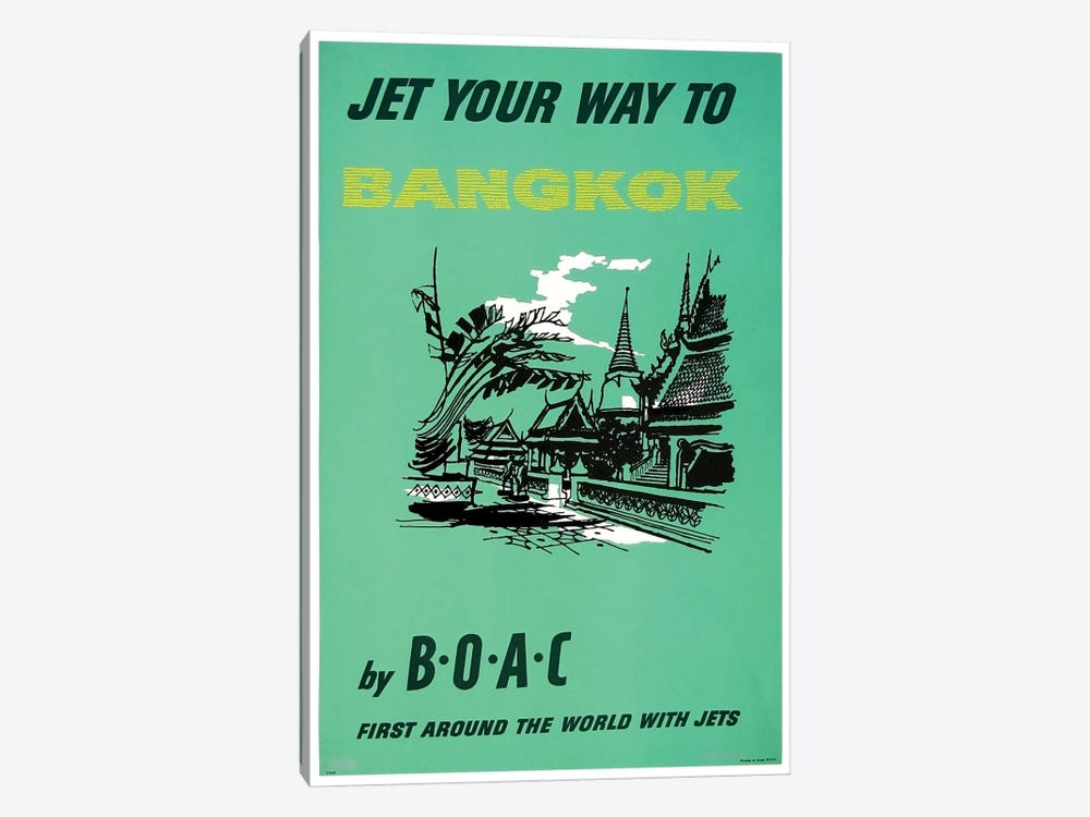 Jet Your Way To Bangkok By BOAC by Unknown Artist 1-piece Canvas Wall Art