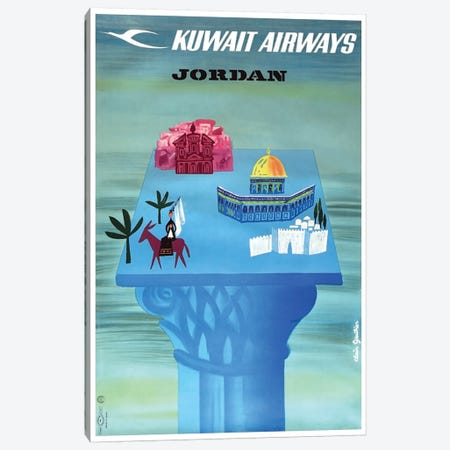 Jordan - Kuwait Airways Canvas Print #LIV169} by Unknown Artist Canvas Print