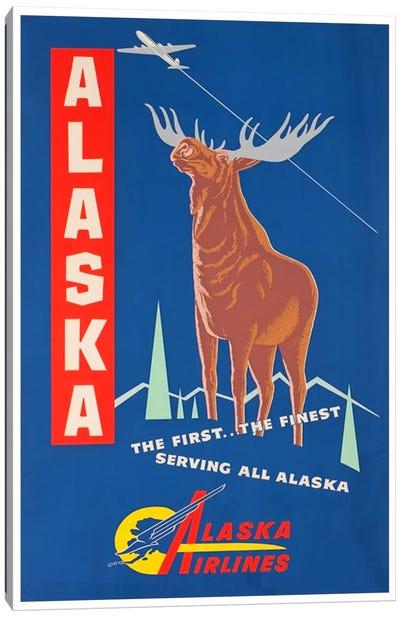 Alaska, The First…The Finest - Alaska Airlines Canvas Print #LIV16