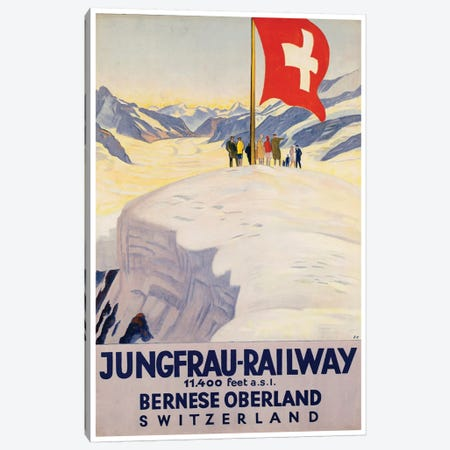 Jungrau Railway - Bernese Oberland, Switzerland Canvas Print #LIV170} by Unknown Artist Canvas Wall Art