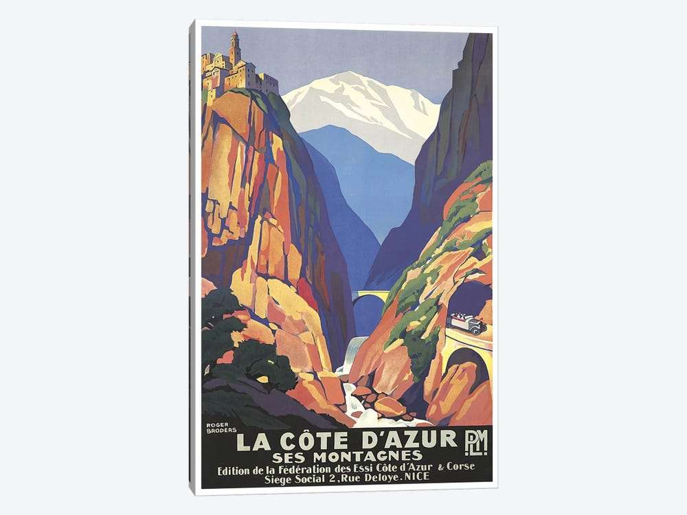 La Cote d'Azur (The French Riviera) by Unknown Artist 1-piece Canvas Wall Art