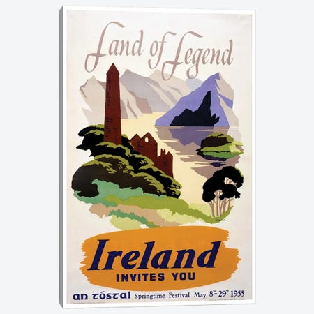 Land Of Legend: Ireland Invites You (Springtime Festival May 1955) Canvas Print #LIV178} by Unknown Artist Canvas Artwork