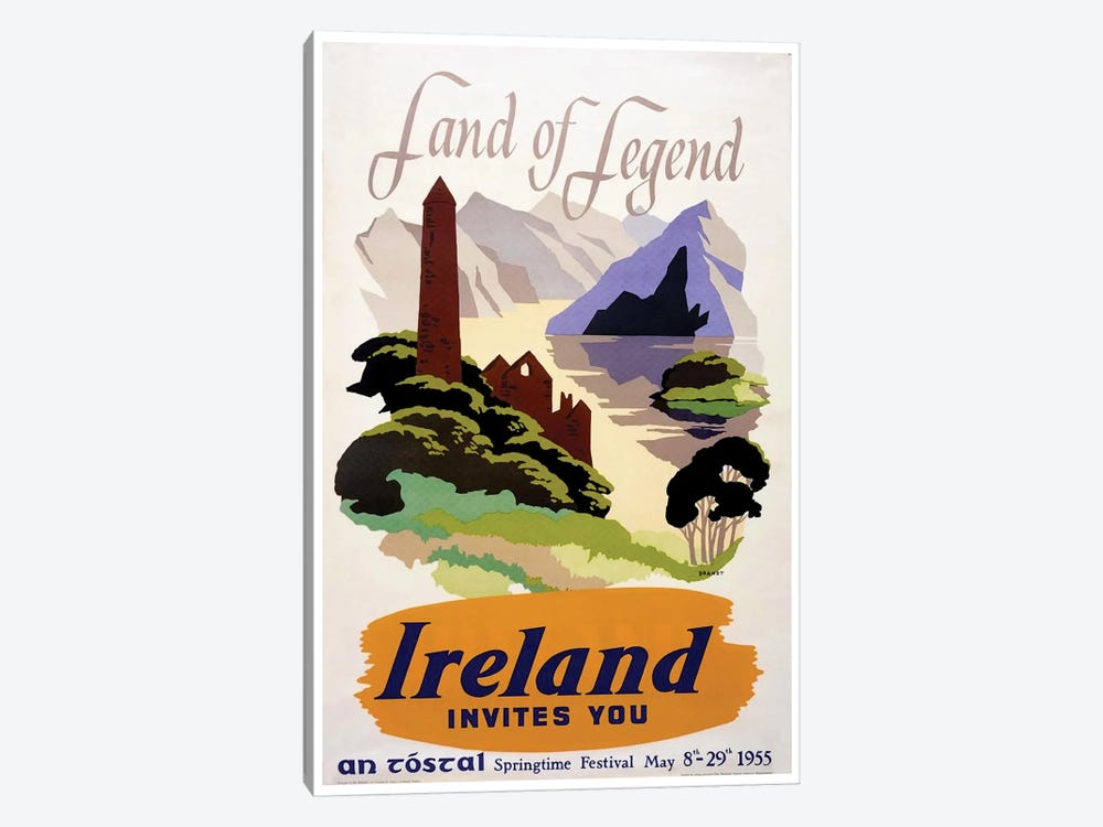 Land Of Legend: Ireland Invites You (Springtime Festival May 1955) by Unknown Artist 1-piece Art Print