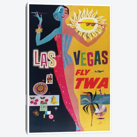 Las Vegas - Fly TWA Canvas Print #LIV179} by Unknown Artist Canvas Artwork
