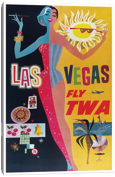 Las Vegas - Fly TWA Canvas Art Print