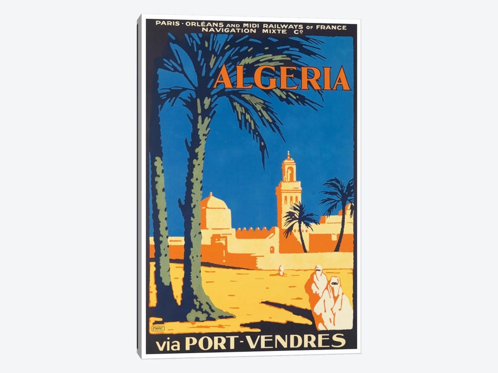 Algeria Via Port-Vendres by Unknown Artist 1-piece Canvas Artwork