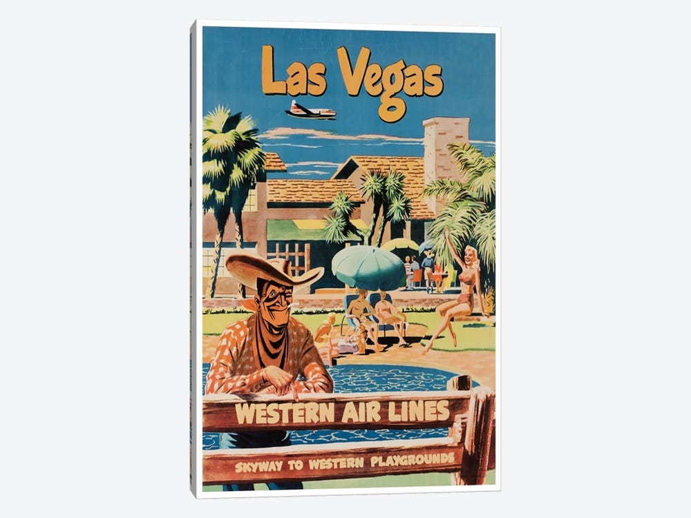 Las Vegas - Western Airlines, Skyway To Western Playgrounds by Unknown Artist 1-piece Canvas Wall Art