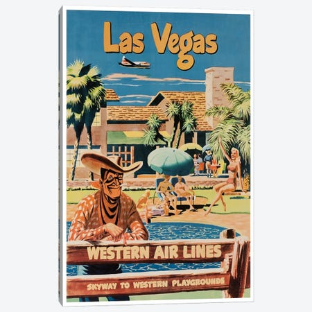 Las Vegas - Western Airlines, Skyway To Western Playgrounds Canvas Print #LIV180} by Unknown Artist Canvas Print
