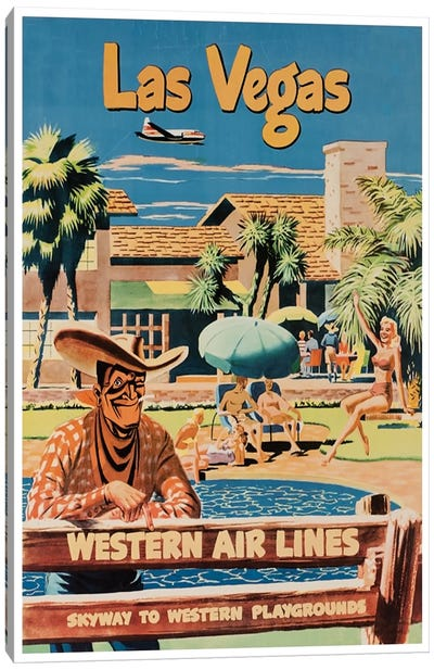 Las Vegas - Western Airlines, Skyway To Western Playgrounds Canvas Art Print