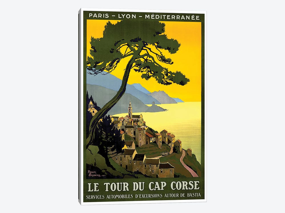 Le Tour du Cap Corse: Paris, Lyon, Mediterranean 1-piece Canvas Art Print