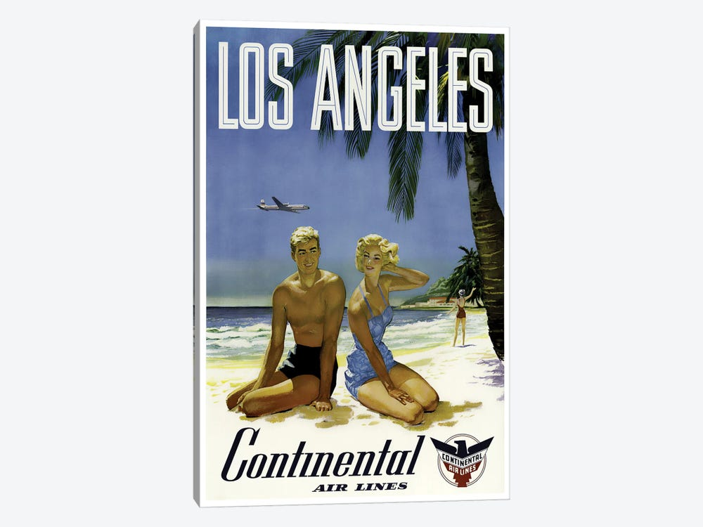 Los Angeles - Continental Airlines 1-piece Canvas Wall Art