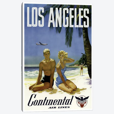 Los Angeles - Continental Airlines Canvas Print #LIV191} by Unknown Artist Canvas Wall Art