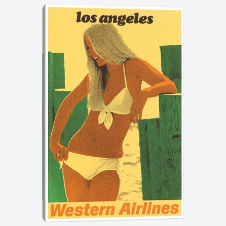 Los Angeles - Western Airlines Canvas Print #LIV192} by Unknown Artist Canvas Art