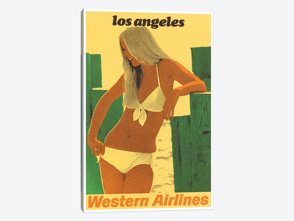 Los Angeles - Western Airlines by Unknown Artist 1-piece Art Print