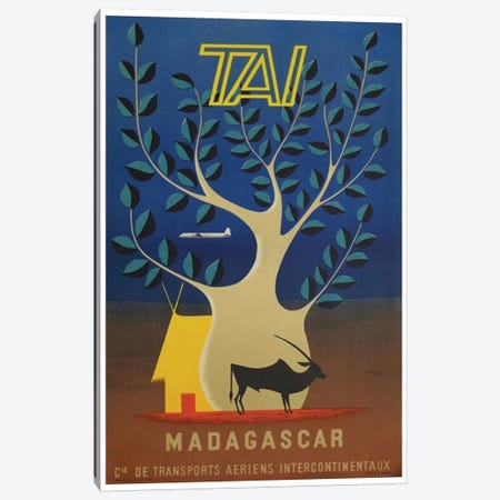 Madagascar - TAI Airlines 3-Piece Canvas #LIV193} by Unknown Artist Canvas Wall Art