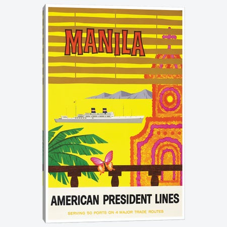 Manila - American President Lines Canvas Print #LIV194} by Unknown Artist Canvas Print