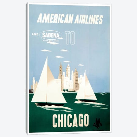 American Airlines And Sabena To Chicago Canvas Print #LIV20} Canvas Artwork
