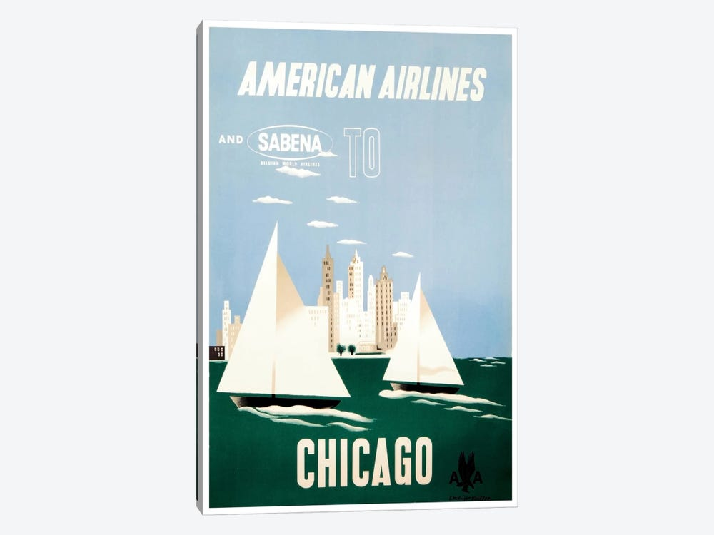 American Airlines And Sabena To Chicago 1-piece Canvas Artwork
