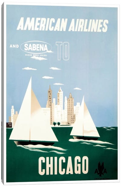 American Airlines And Sabena To Chicago Canvas Art Print