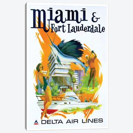 Miami & Fort Lauderdale - Delta Airlines Canvas Print #LIV210} by Unknown Artist Art Print