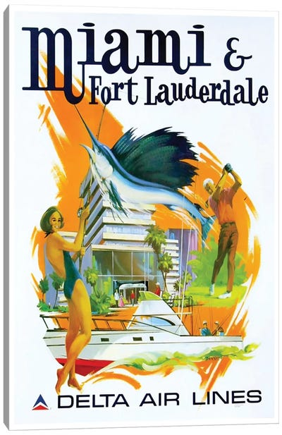 Miami & Fort Lauderdale - Delta Airlines Canvas Art Print