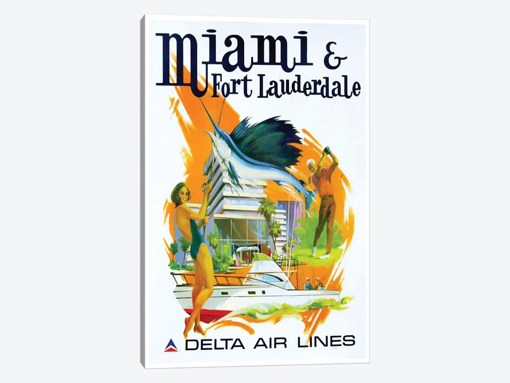 Miami & Fort Lauderdale - Delta Airlines by Unknown Artist 1-piece Canvas Art Print