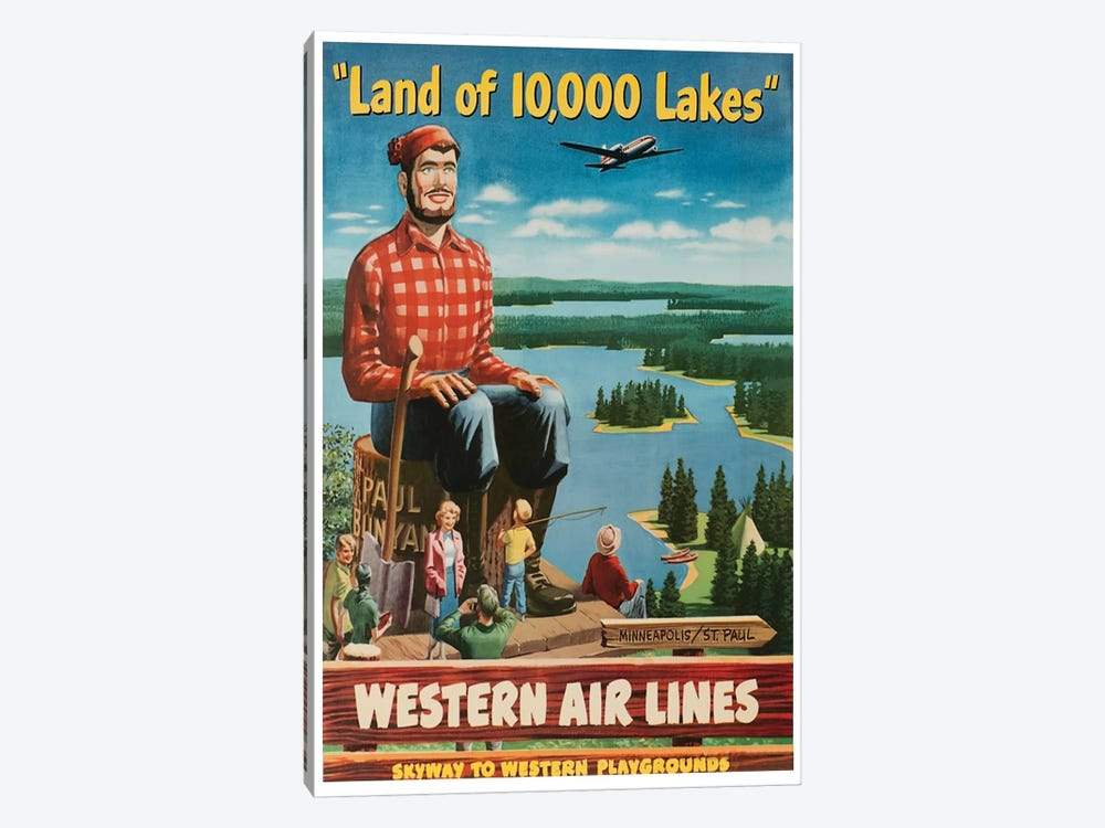 """Minneapolis/St. Paul """"Land Of 10,000 Lakes"""" - Western Airlines, Skyway To Western Playgrounds by Unknown Artist 1-piece Canvas Print"""