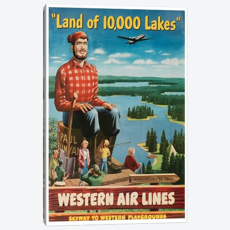 "Minneapolis/St. Paul ""Land Of 10,000 Lakes"" - Western Airlines, Skyway To Western Playgrounds Canvas Print #LIV212} by Unknown Artist Art Print"